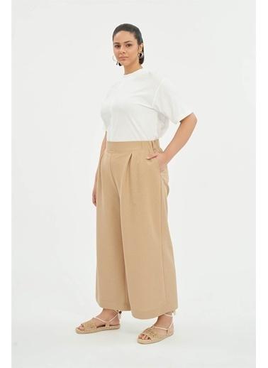 Luokk Mark 1 Rahat Kesim Kadın Pantolon Bej Bej